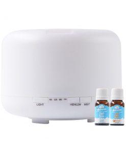 Paket 1 Diffuser 500 ml White Round + 2 Botol Nafasena Essential Oils