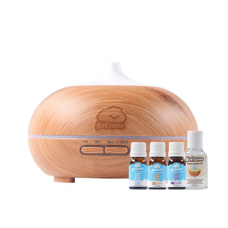 Starter Kit Paket Diffuser 400ml Motif Kayu + All 3 Nafasena Essential Oils 5ml