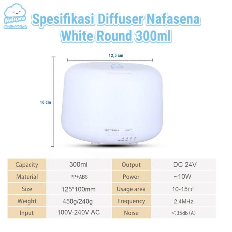 Diffuser Essential Oil Nafasena 300 ml White Round